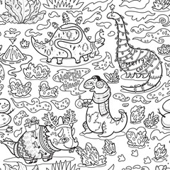 Ink childish pattern with dinosaurs. Cratoon characters with garland, gifts