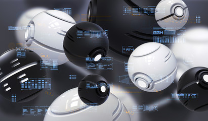 Abstract 3d rendering of spherical nanobots with HUD elements. Futuristic background with tech abstract elements.