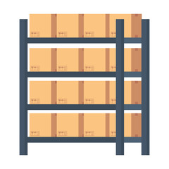 warehouse shelving with boxes