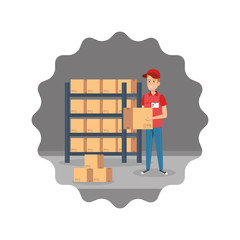delivery worker lifting box with shelving
