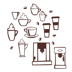 Hand drawn coffee set. Vector sketch  illustration.