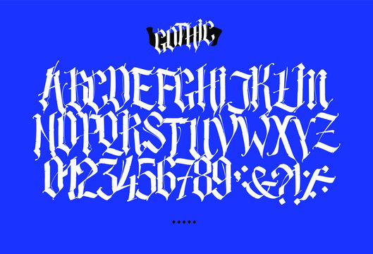 Full Latin alphabet in the Gothic style. Vector. Letters and symbols on a blue background. Calligraphy and lettering. Medieval Latin letters. Elegant font for tattoo. All letters are separate.