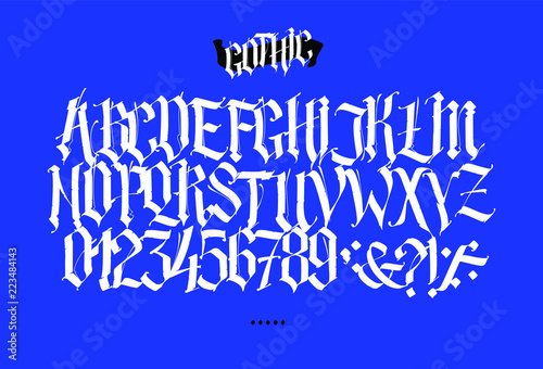 Full Latin Alphabet In The Gothic Style Vector Letters And