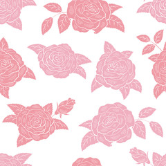 Rose flower graphic pink color seamless pattern background sketch illustration vector