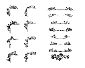 Collection creative corner and divider vintage style. Floral decorative element set for your design.