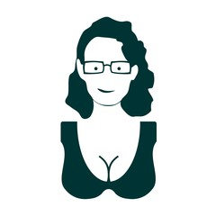 Woman silhouette. Retro fashion. Lady wearing spectacles