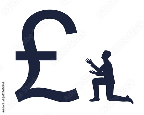 Silhouette Of Man In Prayer Pose Man And Symbol Of Pound Currency