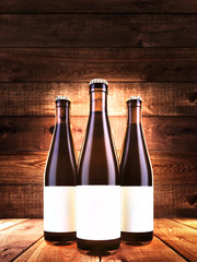 mock up poster on three bottles of dark beer, background