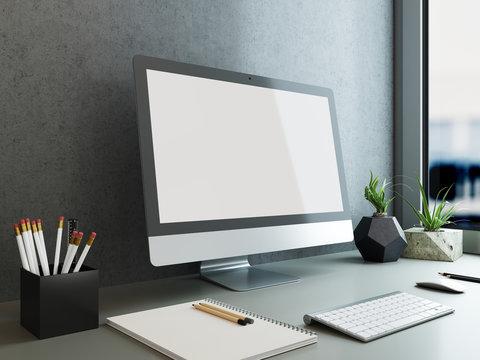 mock up poster monitor template, workspace mock up, background
