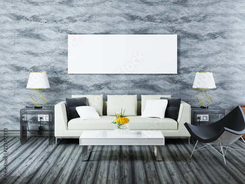 Mockup poster contemporary interior modern white sofa with a