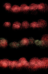 set of bright explosions in the night sky, bright cheerful party, festive mood