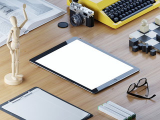 Responsive mockup tablet screen on the office desk isometric.