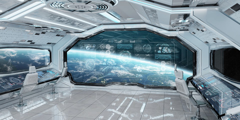 Wall Mural - White spaceship interior with control panel digital screens 3D rendering