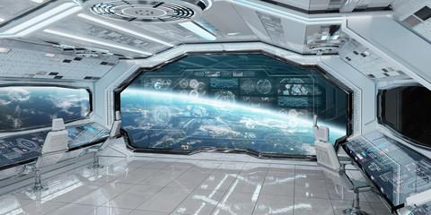 Fototapete - White spaceship interior with control panel digital screens 3D rendering