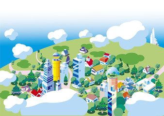 街の俯瞰の背景