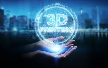 Businesswoman using 3D printing digital hologram 3D rendering