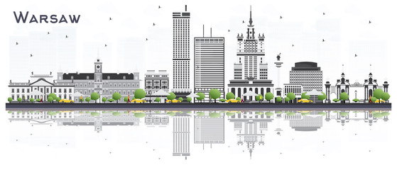 Warsaw Poland City Skyline with Gray Buildings Isolated on White Background.
