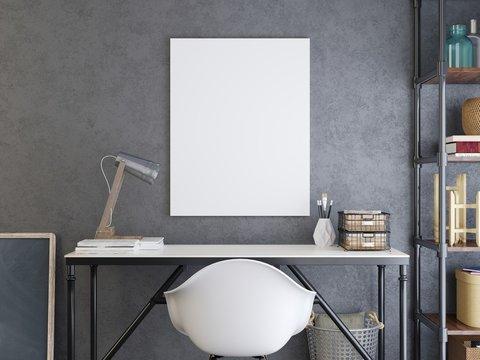 mockup poster above the desk.