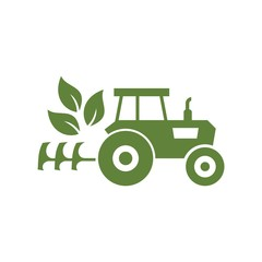 Tractor logo, icon on white background