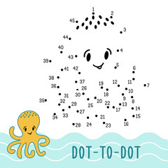 dot to dot game number connect dots octopus