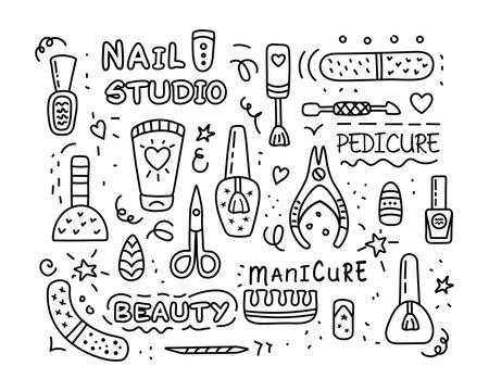 Nail salon manicure pedicure studio vector icon set