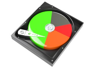 Hard disk drive inside with free and data diagram 3d illustration