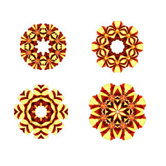Set of round floral frame elements and hand-drawn watercolor on white background. Abstract geometric rosettes in warm autumn colors.