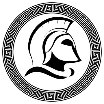 Ancient Spartan helmet with slogan Molon labe - come and take