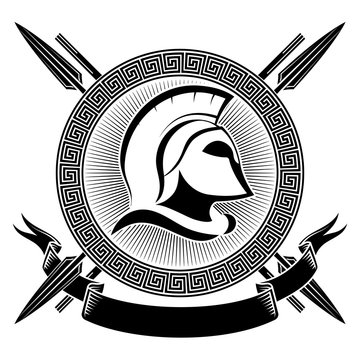 Ancient Spartan helmet, greek ornament meander and spears