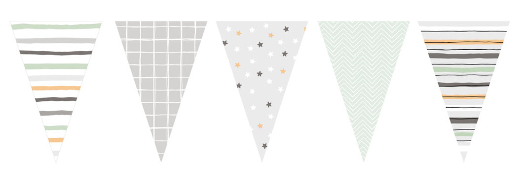 Cute Hand Drawn Design Vector Bunting. Party Decoration. Do It Yourself. Various Patterns Set. Lines, Grid, Stars And Chervron Irregular Design. Party Garland Elements. Lovely Pastel Colors.