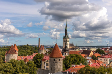 Aerial panoramic cityscape beautiful view of Old Town in Tallinn in summer, Estonia