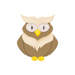 Owl bird animal vector character wild childish or baby fun forrest animal illustration.