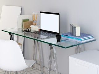 mockup laptop monitor on your glass table.