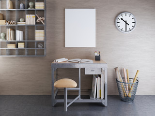 mockup blank on beige wall with metal furniture.