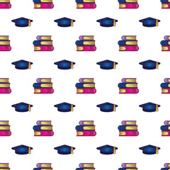 Pattern books, textbooks, academic cap on dark blue background. Study, education, learning and back to school concept. Seamless pattern.