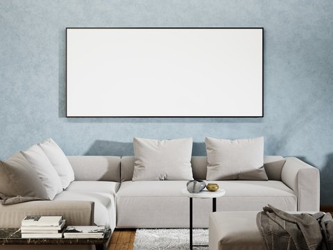 mock up poster blank in a modern interior.