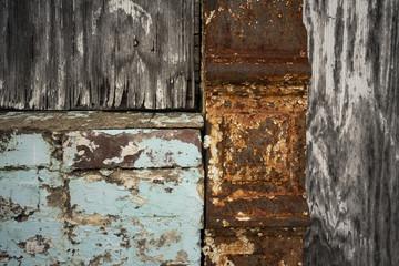 Three Textures Wood Metal Paint One Derelict Building Exterior