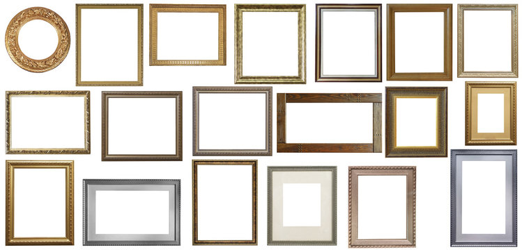 Set of isolated art empty frames in golden and silver color