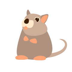 mouse cartoon  vector illustration flat style front
