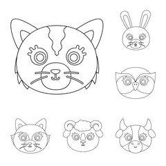 Muzzles of animals outline icons in set collection for design. Wild and domestic animals vector symbol stock web illustration.