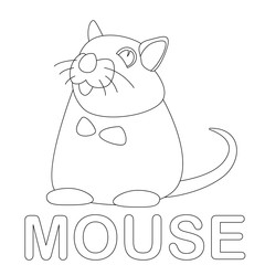 mouse cartoon  vector illustration coloring book  front