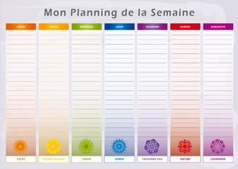 Planning de la Semaine Universel - Chakras correspondant aux Jours de la Semaine - Couleurs Arc-en-ciel - Français