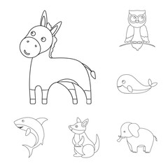 An unrealistic animal outline icons in set collection for design. Toy animals vector symbol stock web illustration.
