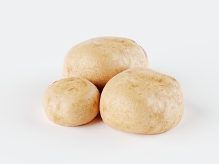 Isolated potatoes. Potato vegetables isolated on white background with clipping path