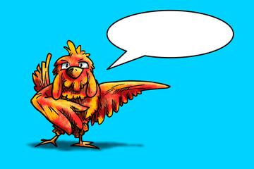 Vogel wijst naar rechts en vertelt iets. Cartoon illustratie van kip of andere vogel