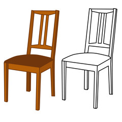 wooden chair, chair outline