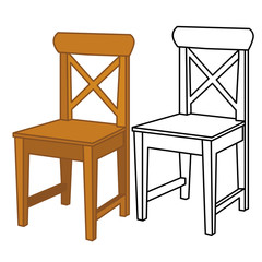vector isolated wooden chair, chair outline