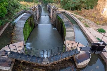 Poster Channel Locks of Canal de Castilla in Calahorra de Ribas, Palencia province, Spain