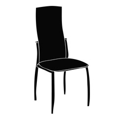silhouette of chair  on white background
