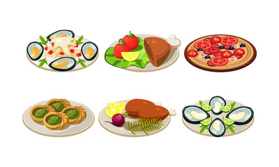 Isolated flat vector set of appetizing dishes. Plates with tasty food. Pizza, mussels and chicken legs
